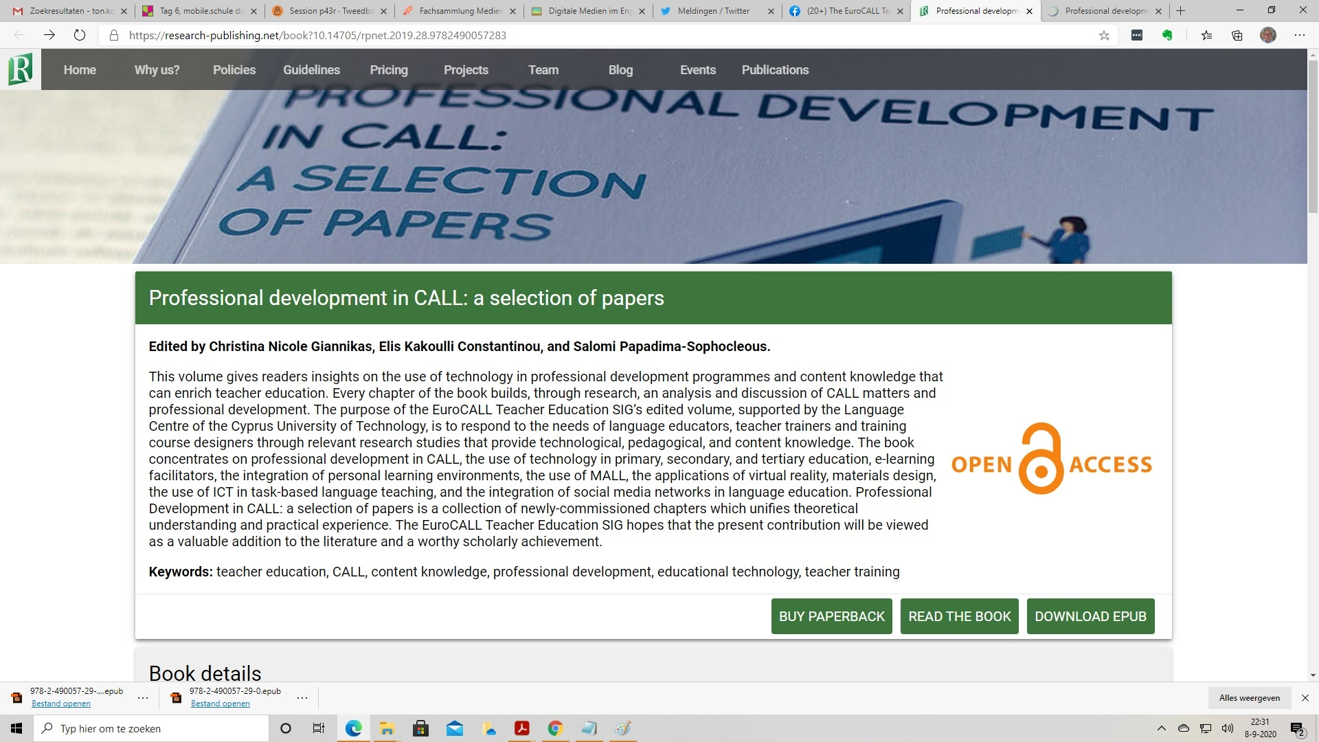 Professional development in CALL: a selection of papers