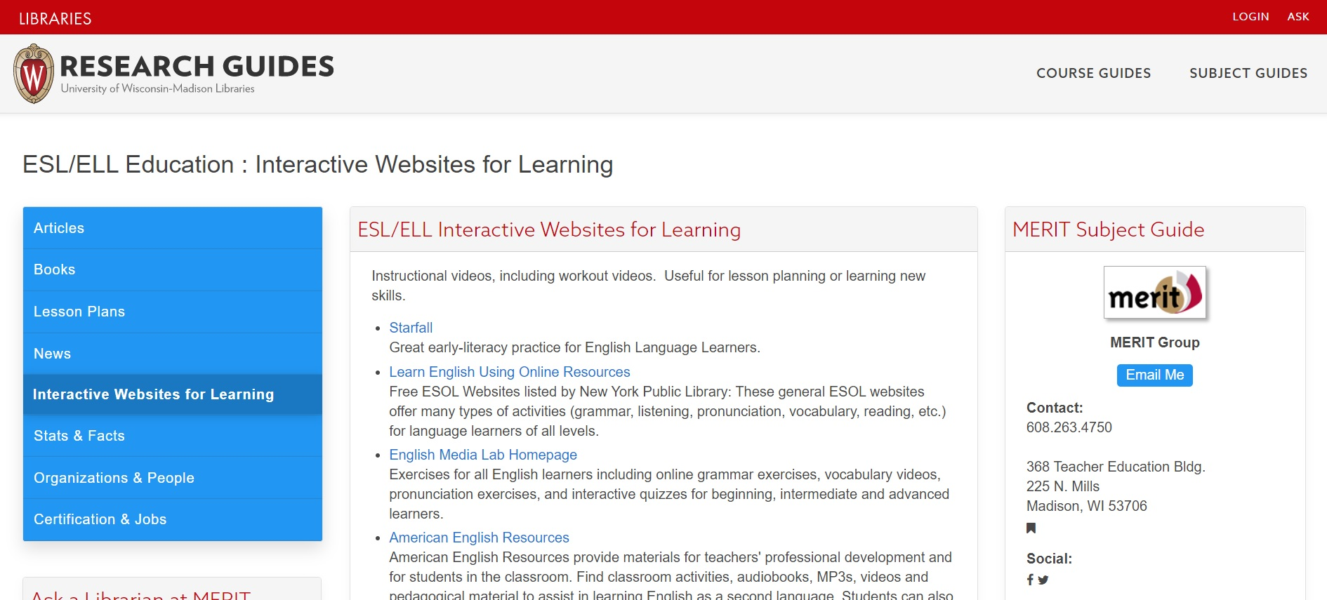 ESL/ELL Education : Interactive Websites for Learning