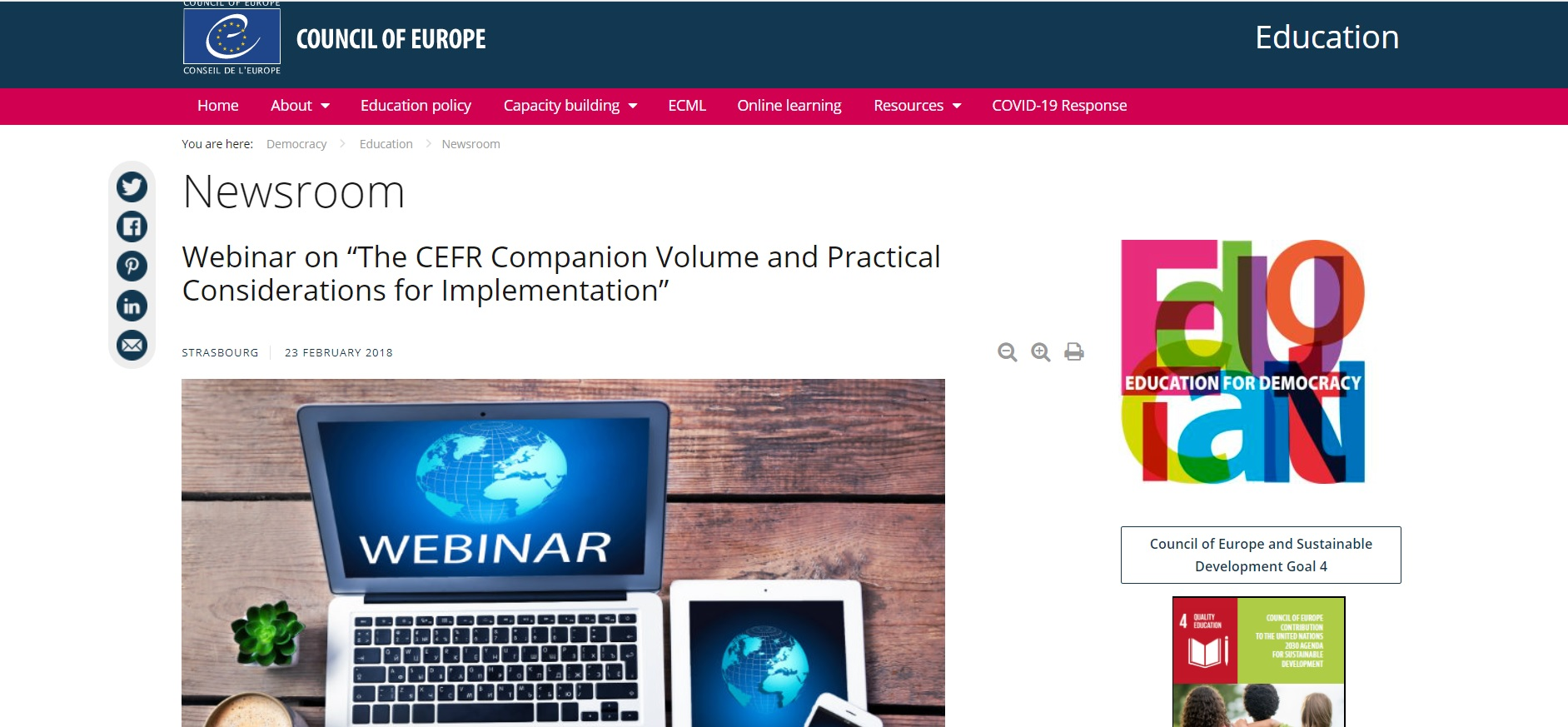 COUNCIL OF EUROPE: CEFR Companion Webinar series